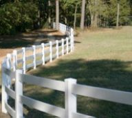 Curvy White Split Rail Fence