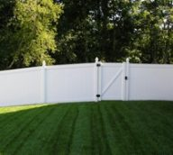 White Vinyl Privacy Fence with Gate