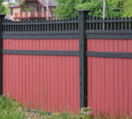 Red Painted Wood Privacy Fence
